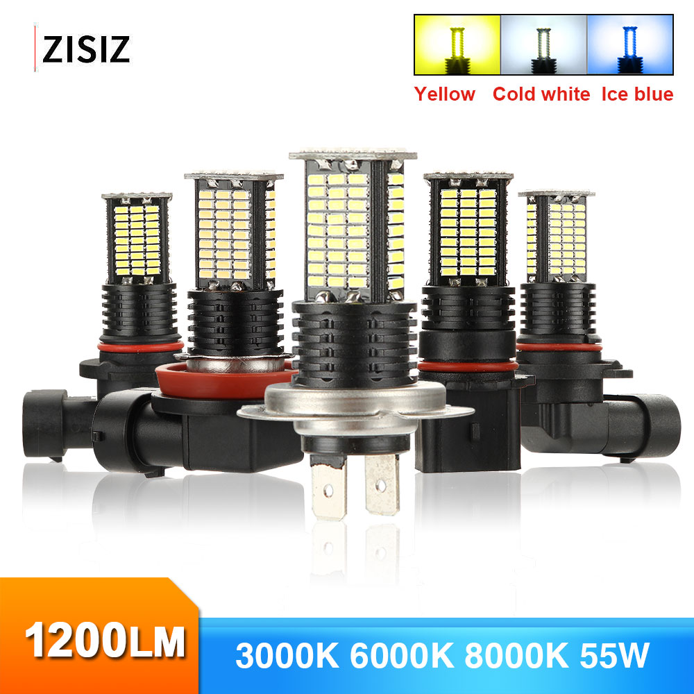 MINI 2Pcs H1 <font><b>LED</b></font> <font><b>H7</b></font> H11 9005 9006 H4 5202 H10 Bulb Canbus Car <font><b>55W</b></font> 1200LM 6000K 24V Head <font><b>Led</b></font> Fog <font><b>Lamp</b></font> Auto Driving Running Light image