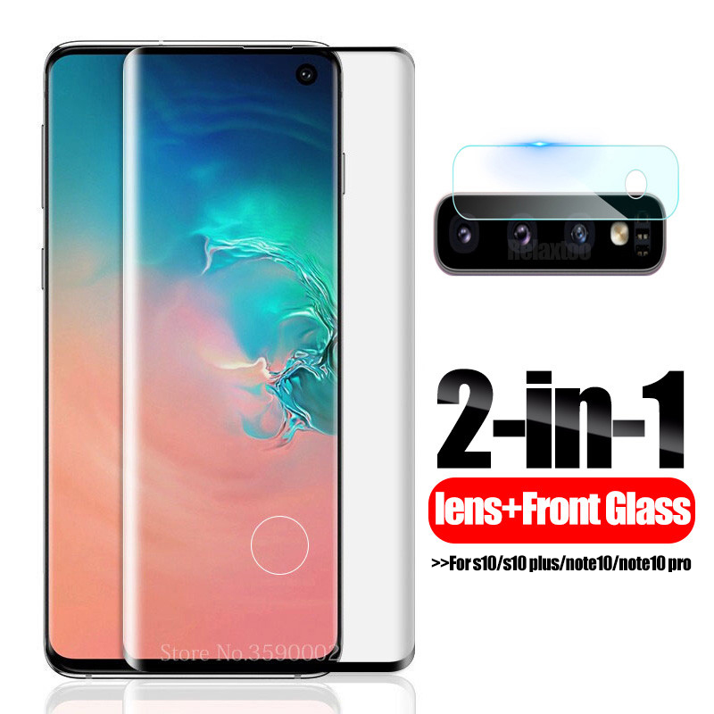 5D Full Curved Protective Glass For Samsung S10 Plus Camera Lens Screen Protector On For Samsung Note 10 Pro Tempered Film S 10