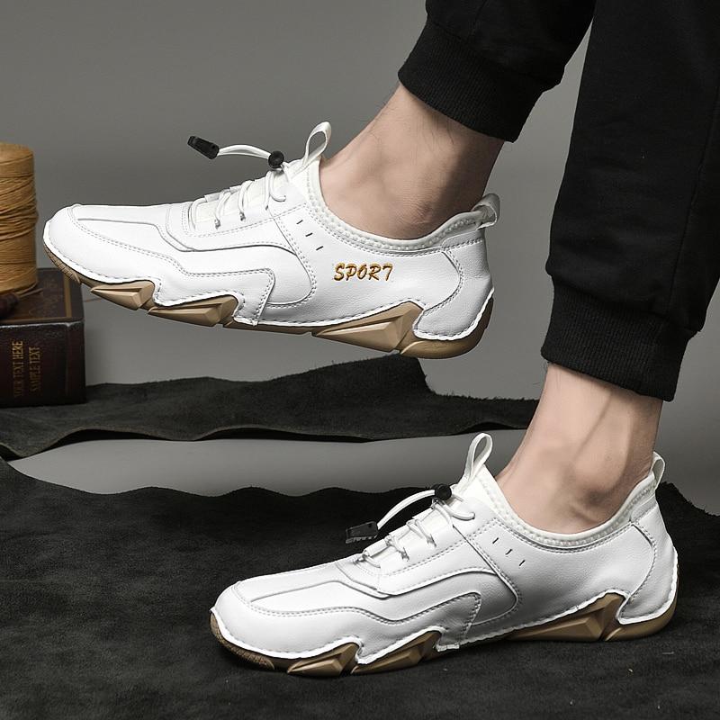 qualidade artesanal não-deslizamento sapatos planos moda mocassins couro genuíno mocassins