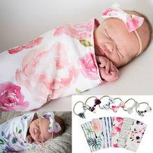 Newborn Soft  Baby Sleeping Bags Comfortable Cute Animal Printed  Swaddle Blanket Sleep Swaddle Muslin Wrap+Headband 2pcs