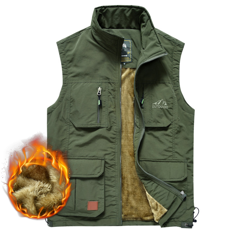 Winter Men Fleece Warm Vest With Many Pockets Autumn Male Casual Thick Multi Pocket Waistcoat New Photographer Sleeveless Jacket