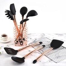 요리 도구 세트 주방 용품 10/11pcs 로즈 골드 핸들 실리콘 주방 액세서리 비 스틱 내열성 주방 도구