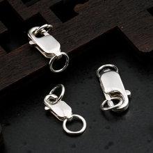 925 Sterling Silber Platz Hummer-haken Mit Ring Anschlüsse 8MM 10MM 12MM Armband Halskette Frühling Verschlüsse DIY schmuck Machen