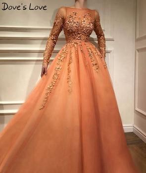 цена на Women Orange A-Line Prom Dress 2020 Appliques Long Sleeves Beading Formal Party Evening Gowns abendkleider vestidos de fiesta
