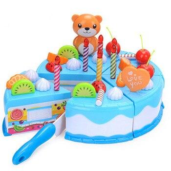 Los niños juegan casa juguete para torta de cumpleaños bebé regalo juguete fruta cortada niña conjunto de regalo