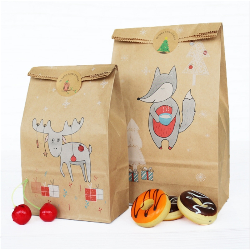 12pcs Christmas Gift Bag Box Kraft Paper Eve Creative Candy Pack Baking Bags For Women Kids Dry Paper Bag With Seal Sticker
