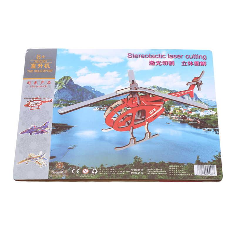 Diy montagem de madeira modelo de aeronaves blocos de construção helicóptero fighter f16 brinquedos educativos jigsaw artesanato