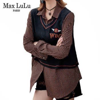 Max LuLu Luxury Korean Fashion Ladies Punk Autumn Tops And Blouses Women Black Striped Shirts Female Patchwork Clothes Plus Size