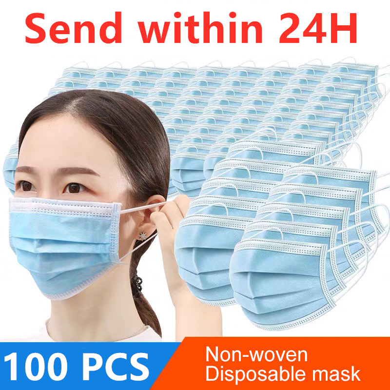 100 PCS Fast Delivery 3 Layer Disposable Protective Masks To Prevent Disease Masks Dustproof In Stock Face Mouth Mask Safety