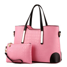 Women Bag Vintage Messenger Bags Shoulder Handbag Women Top-Handle Crocodile Pattern Composite Bag Purse Wallet Leather недорого
