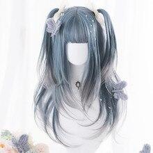 Wig--Cap Gradient Cosplay Lolita Blue Bangs Grey Heat-Resistant Long-Wavy Ombre Synthetic