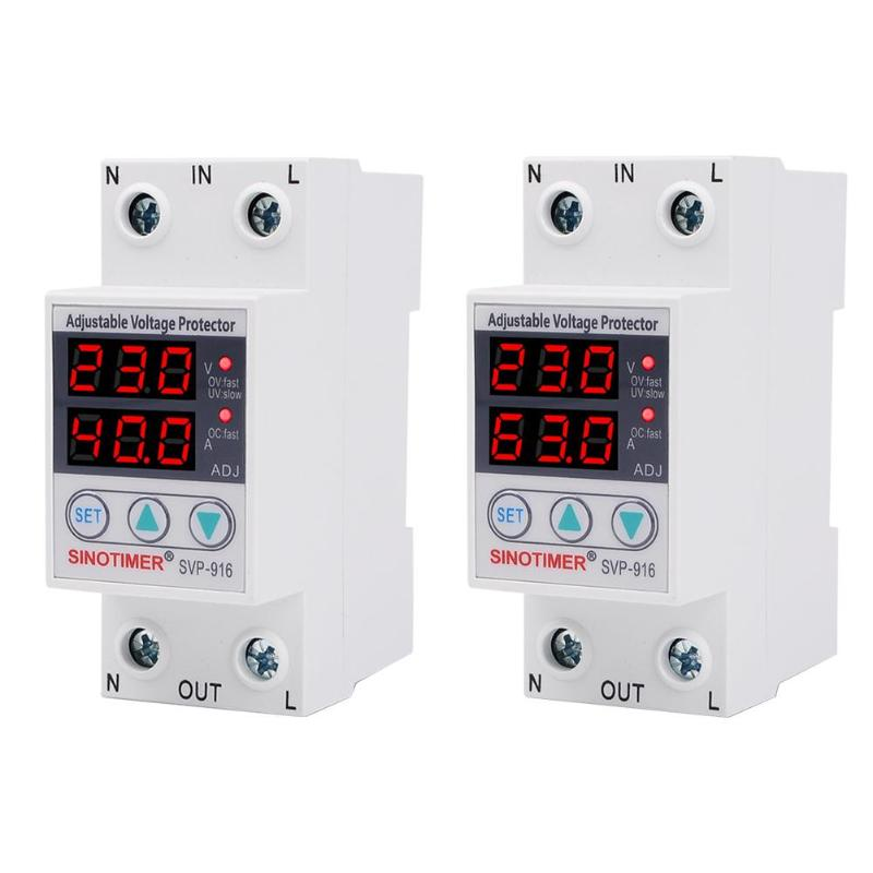 230VAC 40A/63A SVP-916 50/60Hz Adjustable Voltage Surge Protector Relay Limit Current Protection