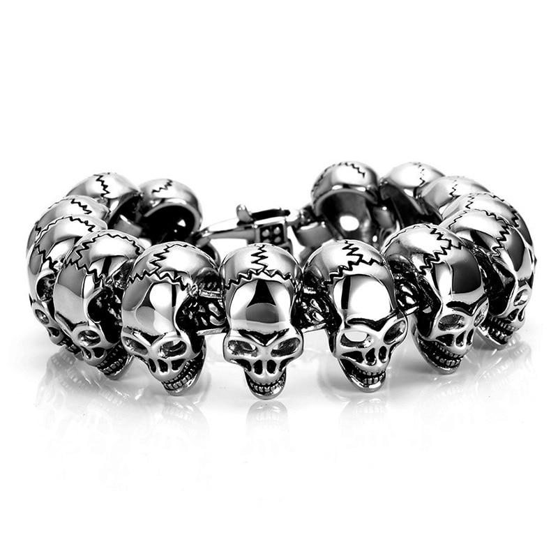 Titanium steel punk bracelet men motorcycle accessories nightmare before christmas Shiny Skull Charm Bracelets jack skellington