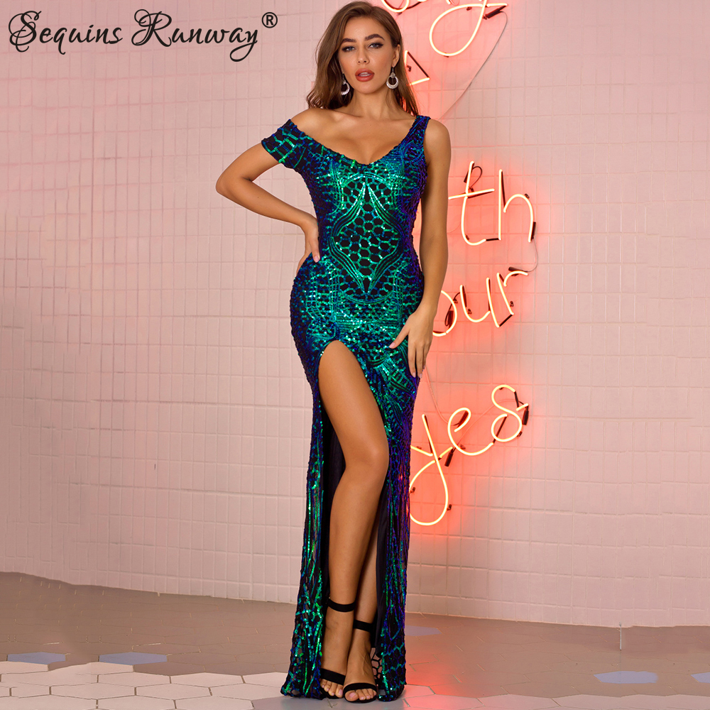 <font><b>Sexy</b></font> Sequin summer maxi <font><b>Dress</b></font> <font><b>women</b></font> vintage Green <font><b>Black</b></font> <font><b>bodycon</b></font> <font><b>Long</b></font> <font><b>Dresses</b></font> night club party woman <font><b>dress</b></font> clothes vestidos 2020 image