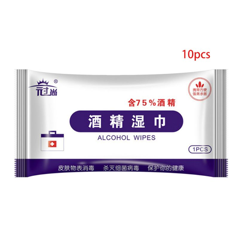 10Pcs Individually Wrapped 75% Alcohol Wet Wipes Portable Disposable Disinfection Pads Antiseptic Sterilization Skin Cleaning Ti