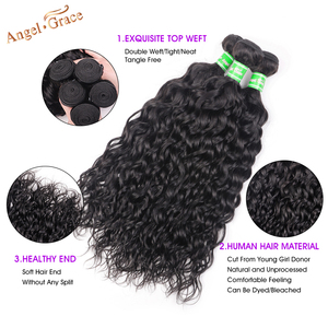 Image 3 - AngelGrace Hair Water Wave Bundles With Closure Remy Human Hair 3 Bundles With Closure Brazilian Hair Weave Bundles With Closure