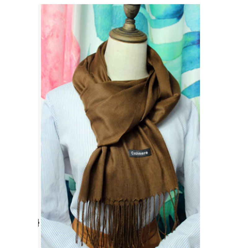 Meihuida Winter Women Soft Comfortable Pashmina Classic Basic Solid Simple Cashmere Tassels Wool Scarf Wraps