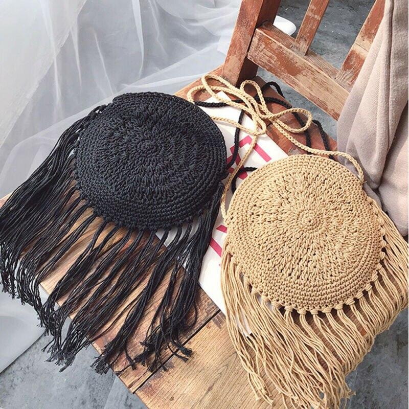 Boho Beach Summer Crossbody Bag Women 2020 Cross Body Shouler Bag Round Circular Straw Woven Basket Purses And Handbag