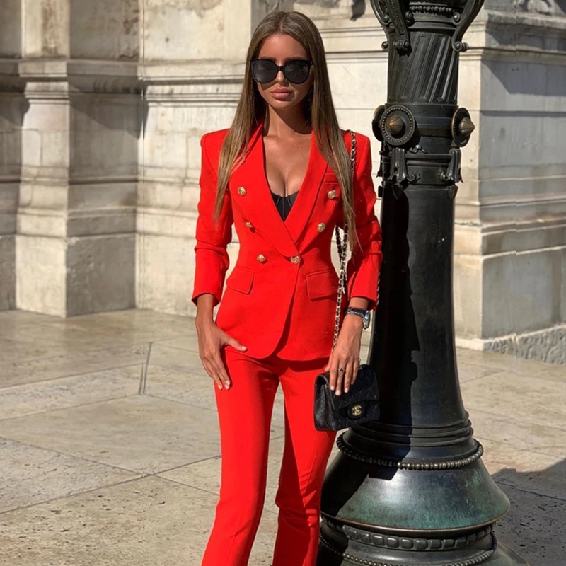 Drop Ship Pink Red Pants Suit Women Business Classic Gold Double Breasted Button Blazer Pants Two Piece Sets Formal Blazer Suits