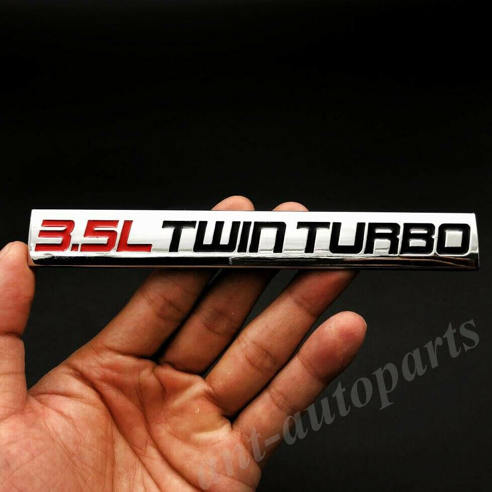 Металлический хром 3.5L двойной турбодвигатель автомобиль багажник эмблема значок наклейки