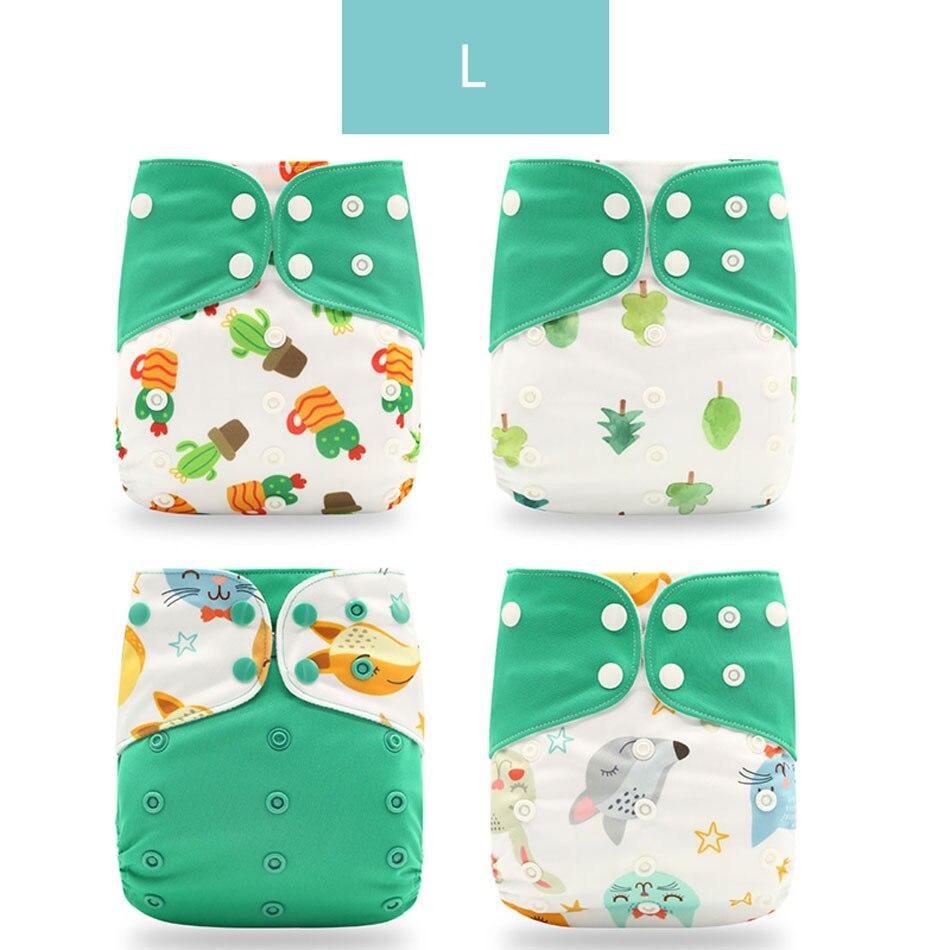 Happyflute 4 шт./компл. моющиеся экологически чистые тканевые подгузники; регулируемый пеленки Многоразовые подгузники из ткани подходит 0-2years, на Возраст 3-15 кг для малышей - Цвет: L only diaper