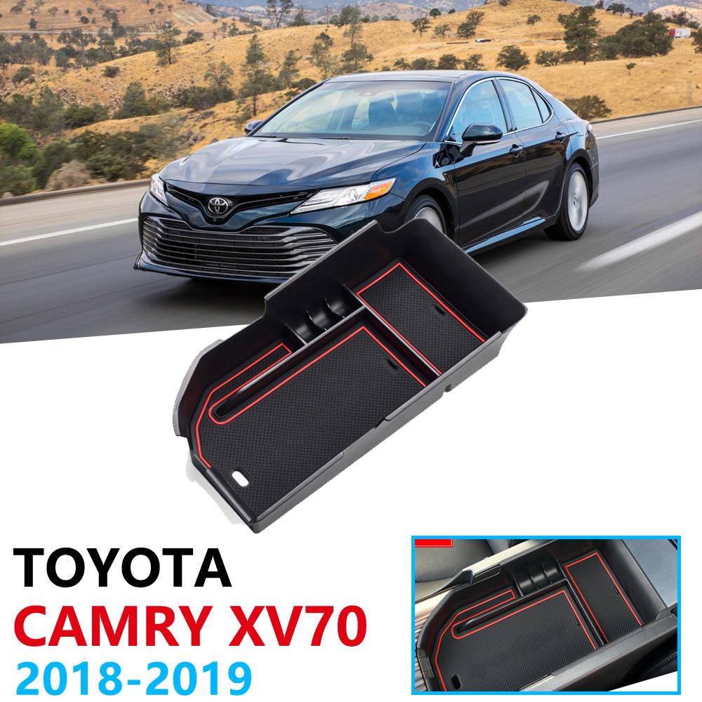 Car Organizer Accessories for Toyota Camry XV70 <font><b>70</b></font> <font><b>2018</b></font> 2019 2020 Armrest Box Storage Stowing Tidying Coin Box Anti-Slip Mat image