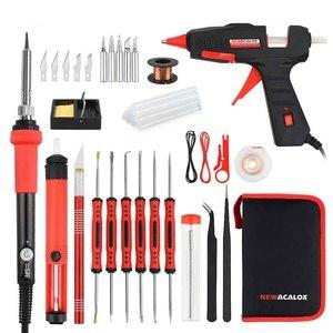 Image 5 - NEWACALOX ue/US 60w DIY regulacja temperatury elektryczny zestaw do spawania lutownica śrubokręt pistolet do kleju naprawa nóż do rzeźbienia