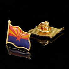 USA State of Arizona Flag Badge Metal Lapel Pins American Patriotism Pin Brooch Gift 5pcs vermont of usa state national patriotism metal paint commemorative badge wear pin brooch collection