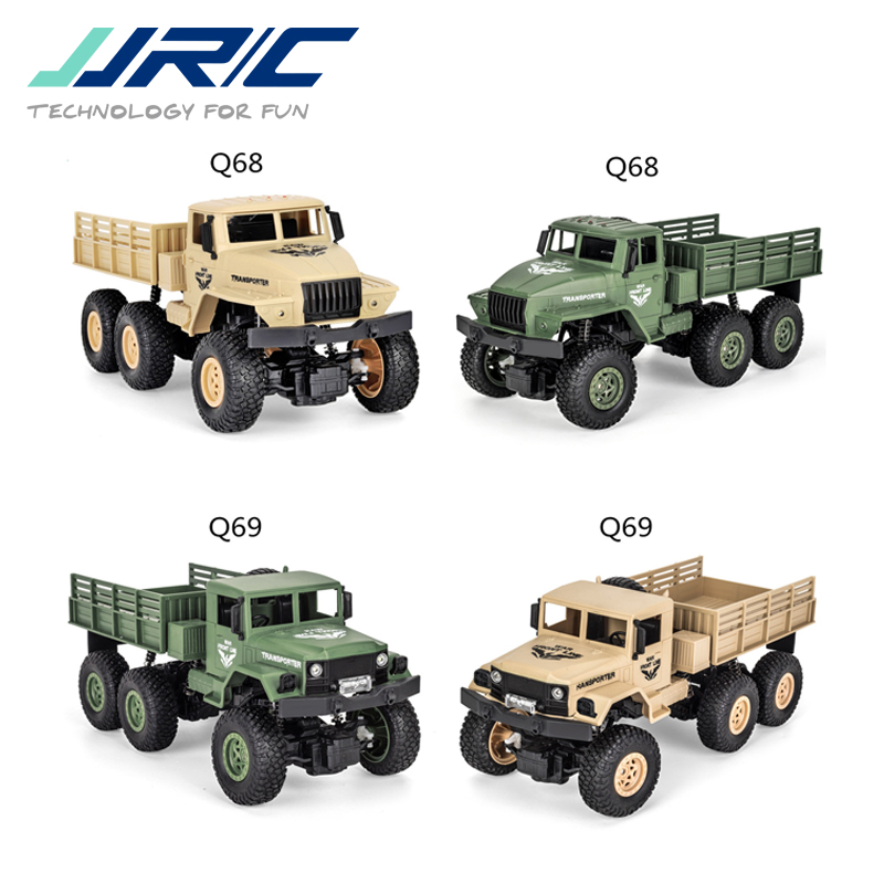 JJRC Q68 Q69 1/18 2.4G 4CH 6WD 130 Brushed Motor Yellow / Green RC Vehicle Off-Road Military Truck Car RTR Model Toys For Boys