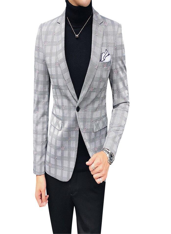 2019 costume mâle Version coréenne d'affaires décontracté britannique Slim modèles jeunesse beau petit costume tendance cheveux styliste Plaid veste