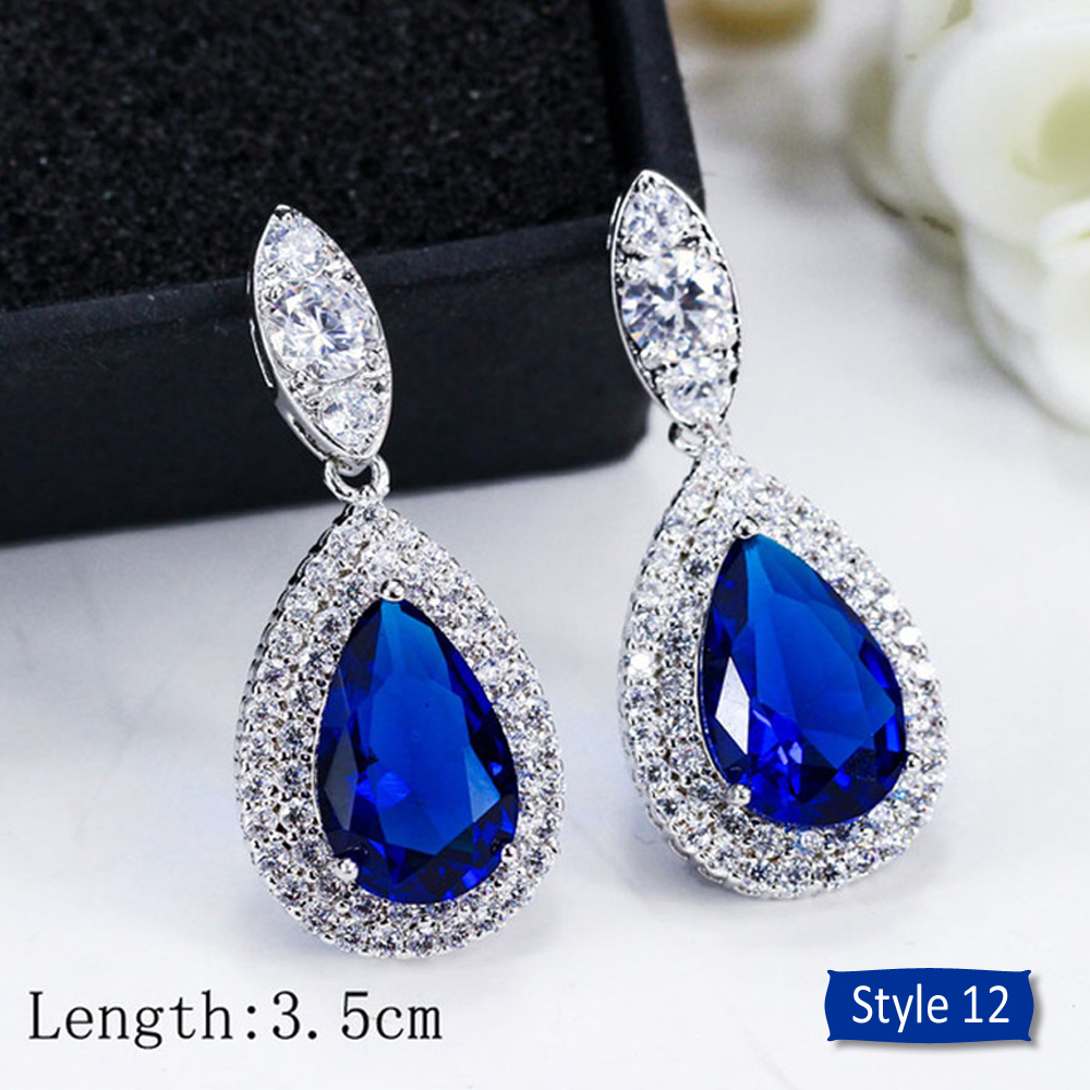 H8144d1cdf31c45298cfae656bc0dac60p - ThreeGraces Noble Big Cubic Zirconia Dark Blue Crystal Earring for Women Statement Round Flower Dangle Teardrop Earrings ER011