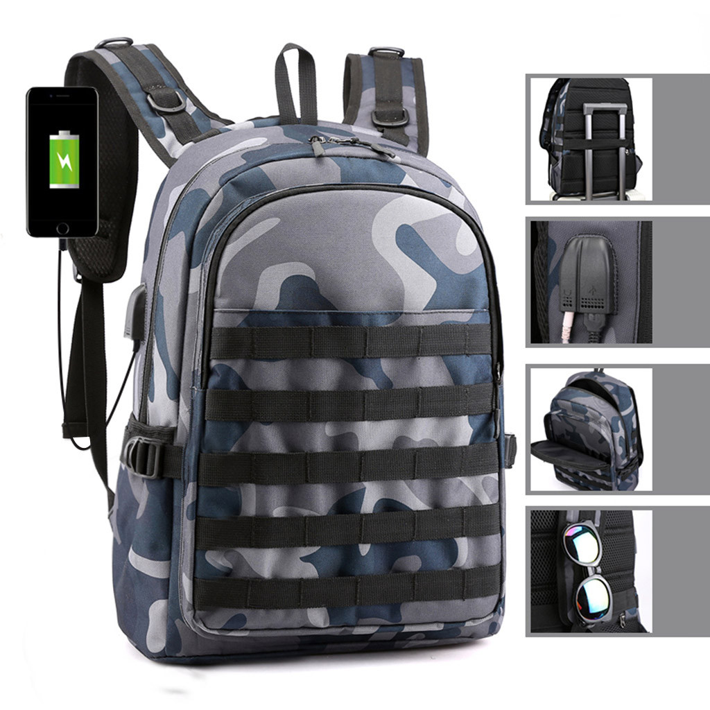 Game PUBG Backpack Men School Bags Mochila Pubg Battlefield Infantry Pack Camouflage Travel Canvas USB Charging Knapsack Cosplay