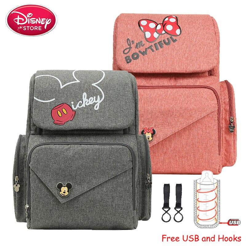 Sac à couches Disney pour maman   Sac pour bébé, Mickey Mouse, chauffage USB, sac à main de maternité, sac de voyage pour soins de bébé, nouveau 2019