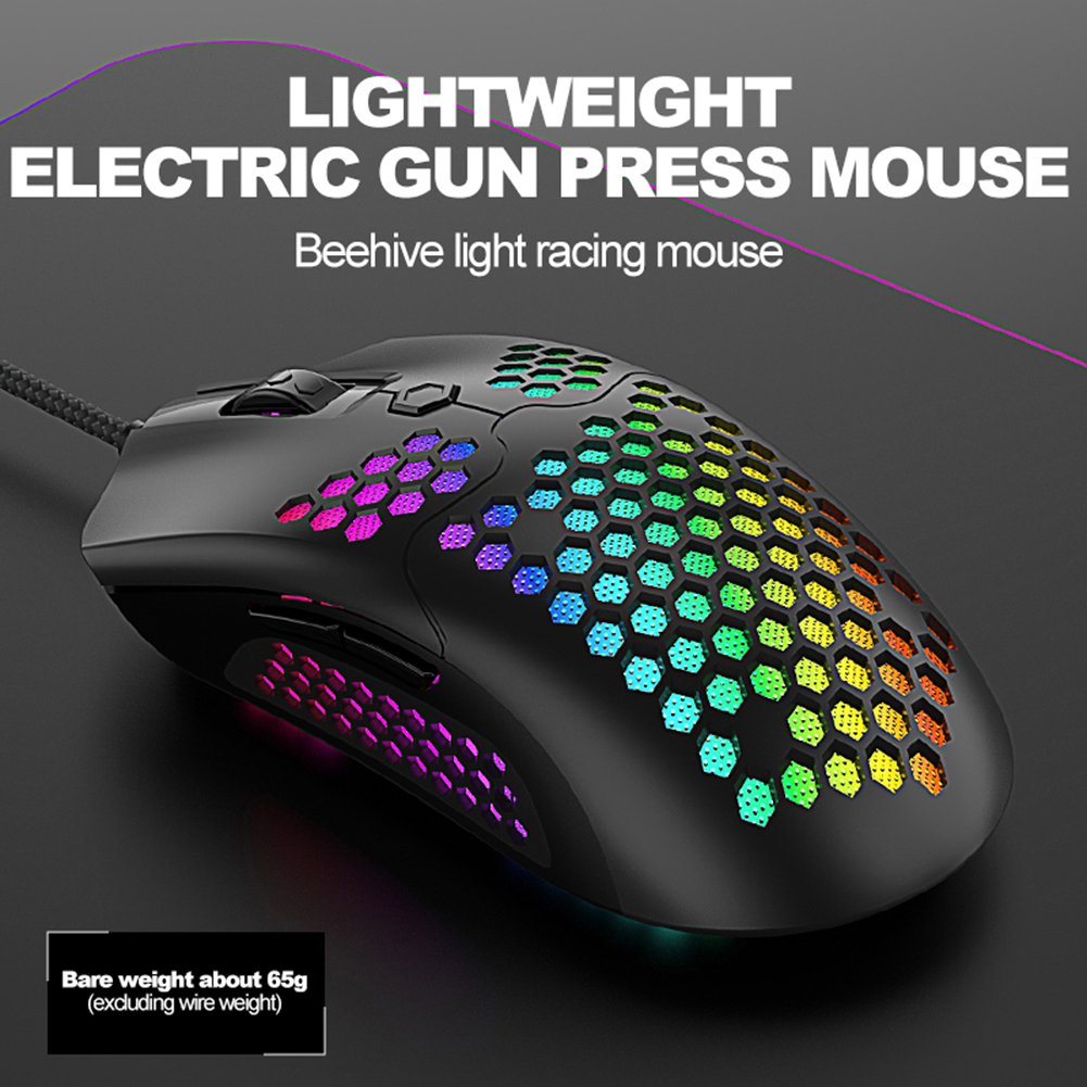M5 Gaming Mouse 12000 DPI USB Computer Mouse RGB Light Effect Wired Hollow Mice for Mac OS Computer PC Laptop image