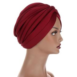 New Headwraps hats for women Solid Twist Ruffle Cotton Caps Chemo Beanies Turban Headwear Hats for Cancer