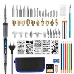 220 В/110 В 60 Вт Регулируемый набор паяльников для резьбы по дереву, набор ручек для пирографии, сварочные наконечники, инструменты для тиснени...