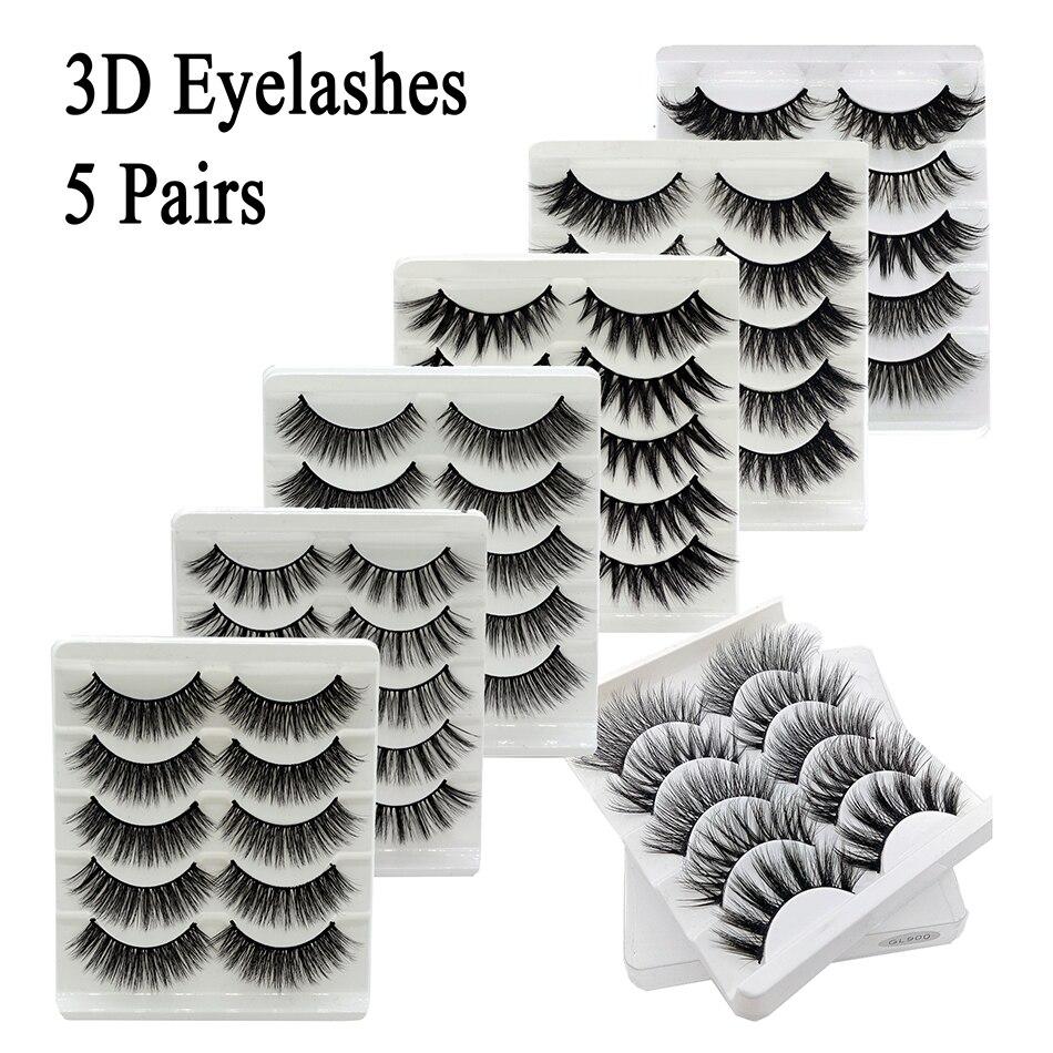 5Pairs 3D Mink Eyelashes False Lashes Natural Handmade Volume Soft Eye Lashe Fake Eyelash Extension Makeup Make Up Tools