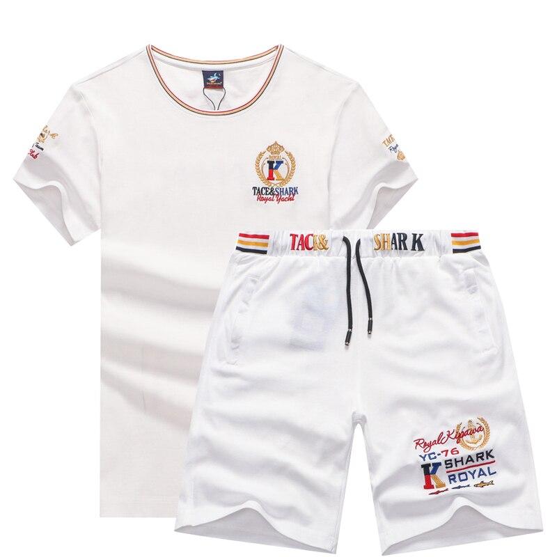 2 Pieces Track Suit 2020 Summer Men's Sets Short Sleeve T-shirt + Shorts Brand Tace & Shark Sportswear Casual 2 PCS Sweat Suit