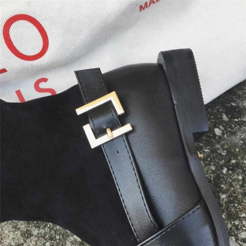 LZJ/2019 г.; модные носки «Челси»; ботинки из искусственной кожи; вязаные зимние женские ботильоны на низком каблуке с квадратным носком; сохраняющие тепло