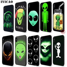 IYICAO Alien funny Cute Soft Black Silicone Case for iPhone 11 Pro Xr Xs Max X or 10 8 7 6 6S Plus 5 5S SE стоимость