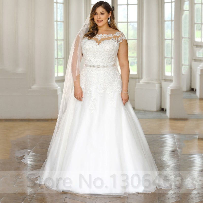 Cheap Plus Size Custom Made Wedding Dress For Women Scoop Neck Cap Sleeve Appliques Lace Bride Dress With Beading Belt