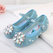 Disney Crystal Shoes Sequin Sandals For Baby Girls Frozen Elsa Anna Cartoon Shoes Princess Party Girls Flat Shoes