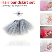 2pcs Short Skirts+Headband Set Baby Girl Tulle Tutu Skirt and Flower Headband Newborn Photography Props Birthday Gift
