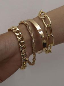 PuRui 4pcs Punk Curb Cuban Chain Bracelets Set for Women Miami Boho Thick Gold Color