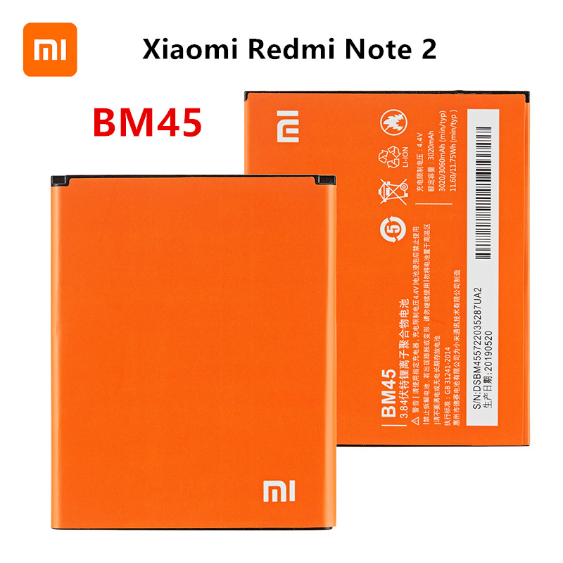 Xiao Mi 100% Orginal BM45 3060mAh Battery For Xiaomi Redmi Note 2 BM45 High Quality Phone Replacement Batteries