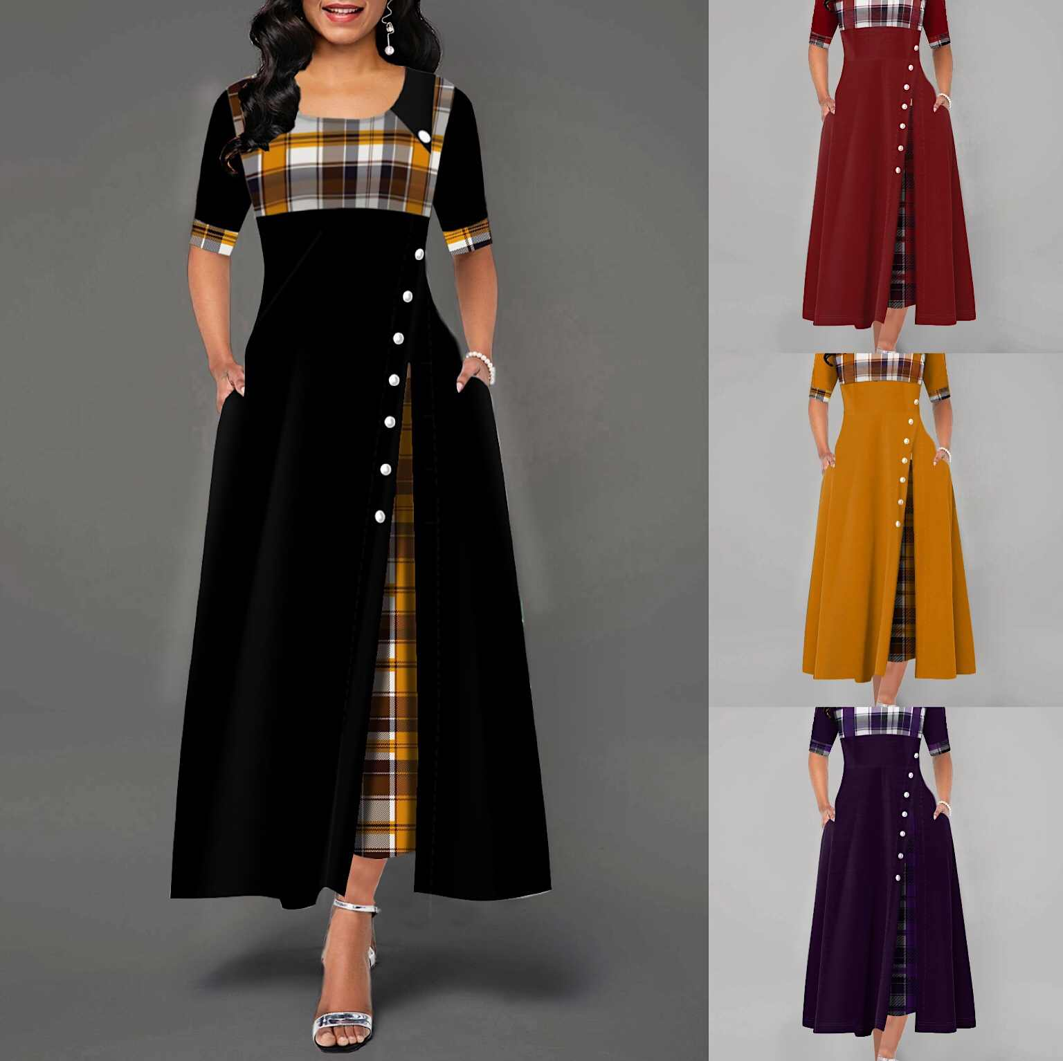 Đầm Nữ Mùa Xuân Thường Kẻ Sọc In Hình Nút Đầm Maxi Thời Trang Retro Nửa Tay ĐẦM DỰ TIỆC 2020 Plus Kích Thước Vestidos