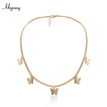 Fashion Butterfly Pendant Necklace Choker Butterfly Necklace Gold Silver Color Clavicle Chain Necklaces for Women Girls Jewelry cring coco new fashion choker necklace collar necklaces romantic cat fish fur pompom silver chain pendant for women girls gift