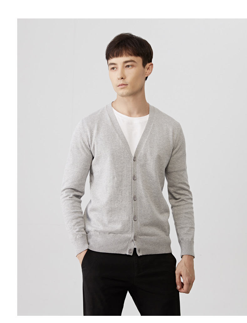 2019 Autumn Men Cardigans Male Sweater Fall Thin Cotton Knited V-Neck Sweater Men Spring Solid Cardigan Korean Style Brand Muls 02