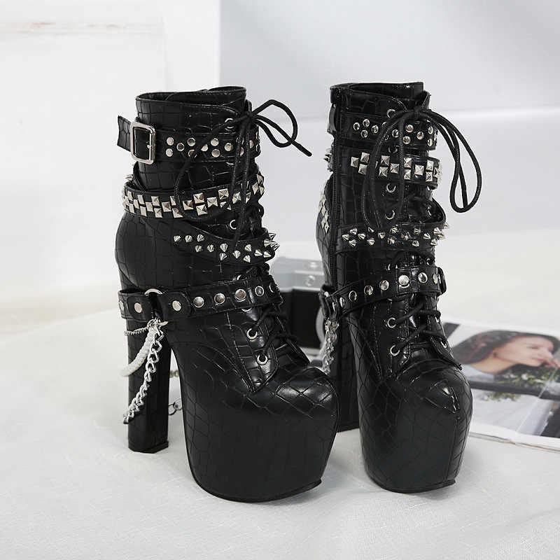 Krzyż granicy popularne 2020 nowy heavy metal dekoracji 16cm bardzo wysokie obcas gruby obcas ozdobiony paciorkami damski jest krótkie buty