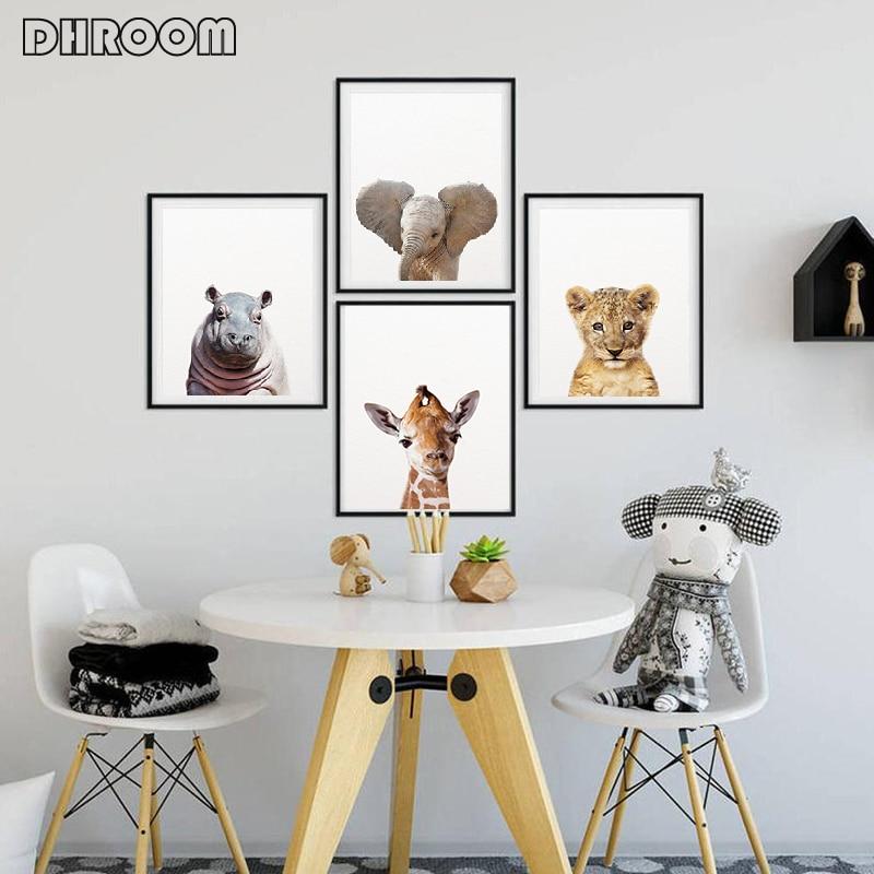 H81459d1fffbd423eb02613c549f8d26bk Safari Baby Animals Canvas Poster Nursery Lion Tiger Wall Art Print Modern Animal Painting Nordic Kid Bedroom Decoration Picture